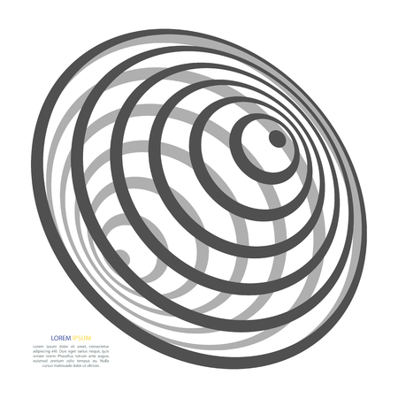 Abstract background of circles in the form of a whirlpool, black hole, in black and white