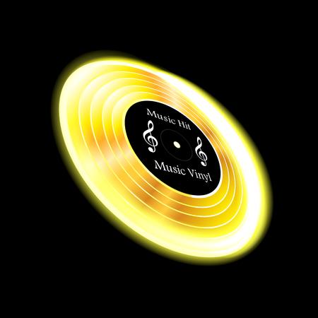 On black background isolated object music, vinyl