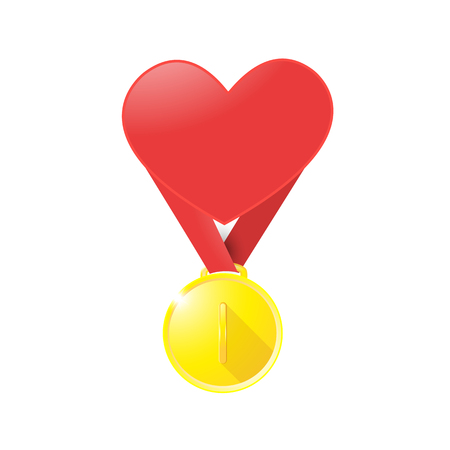 Medal isolated object on background medal with a heart