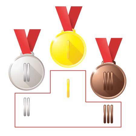 Medals isolated object on background vector sport