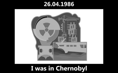 vector black ink lettering - chernobyl, april 26 1986 Illustration