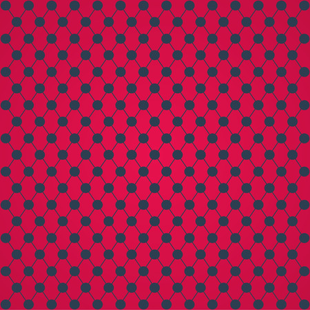 intersect: Halftone of gray circles which intersect lines on a red background Illustration