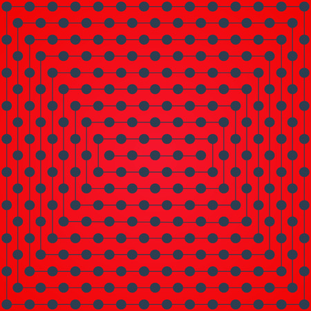intersect: Halftone of gray dots lines which intersect on a bright red background