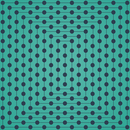 intersect: Halftone of gray dots which intersect lines on turquoise background