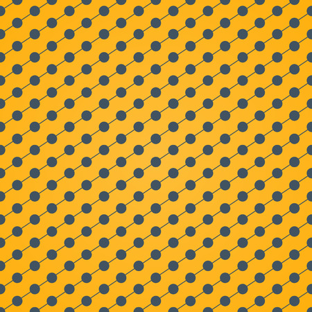 intersect: Halftone of gray dots which intersect lines on a yellow background