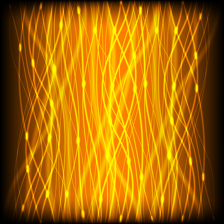 glare: Abstract background of bright neon yellow curves vertical lines with glare