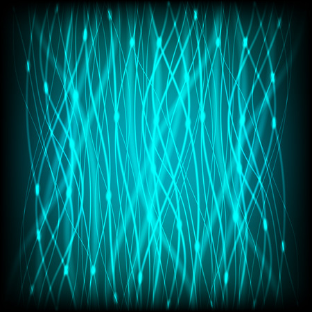 Abstract background of bright neon blue curves vertical lines with glare