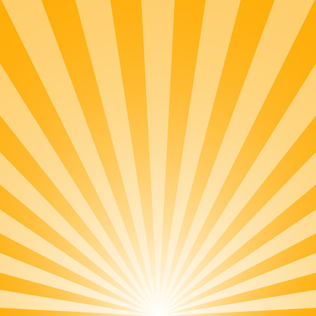 The sunrise with sunbeams on yellow background