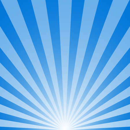 The sunrise with sunbeams on blue background Vector Illustration