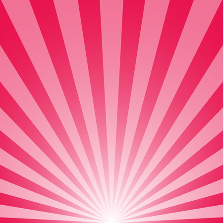 The sunrise with sunbeams on pink background