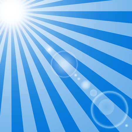 The sun and the suns rays with glare on blue background