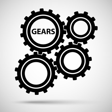 Black toothed gears (cogs) is meshed on gray background