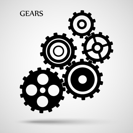 Black toothed gears ( cogs ) is meshed on gray background Иллюстрация