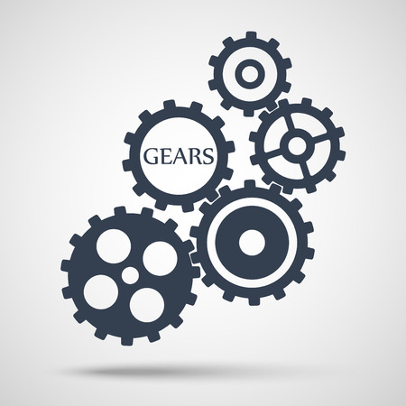 Gray toothed gears (cogs) is meshed on gray background