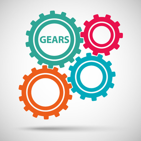 Multicolored toothed gears (cogs) is meshed on gray background