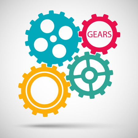 toothed: Color toothed gears (cogs) is meshed on gray background Illustration