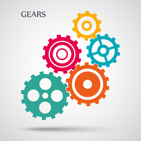 Colorful toothed gears (cogs) is meshed on gray background