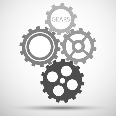 meshed: Gears (cogs) is meshed on gray background