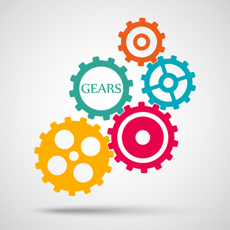 toothed: Colored toothed gears (cogs) is meshed on gray background
