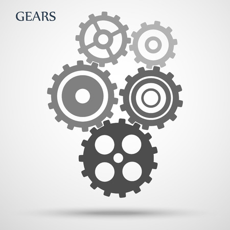 Gray toothed gears ( cogs ) is meshed on gray background