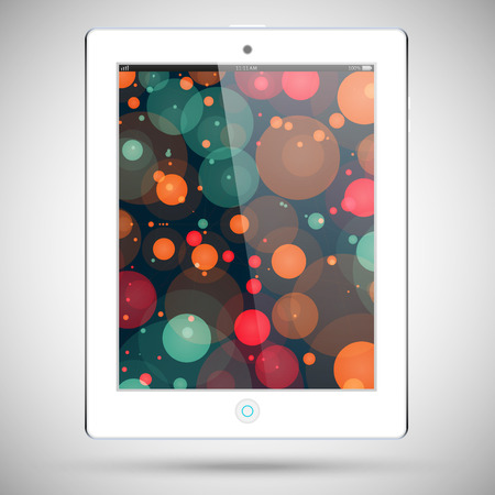 Realistic detailed white tablet in ipad style with a colored circles on the touch screen isolated on a gray background Vector
