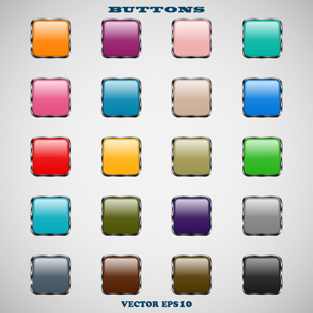 Set of glass square color web buttons with glossy reflections for website or app on a gray background Vector