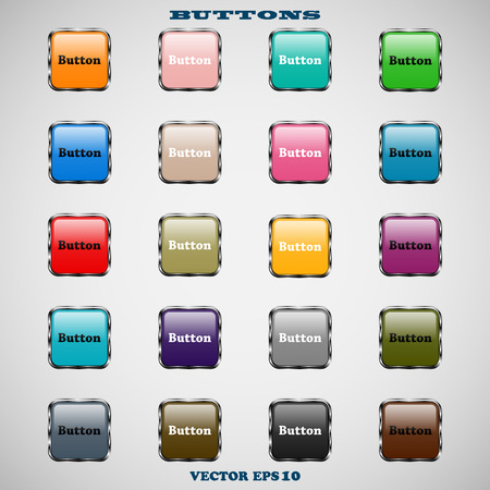 Set of glass square colored web buttons with glossy reflections for website or app on a gray background Vector