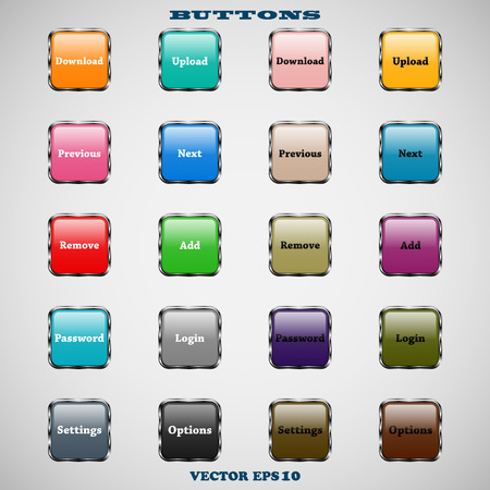Set of glass square colorful web buttons with glossy reflections for website or app on a gray background Vector