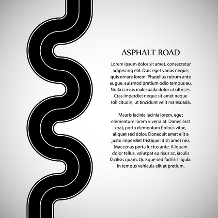 marking: Asphalt road with white solid marking and text on the gray background Illustration