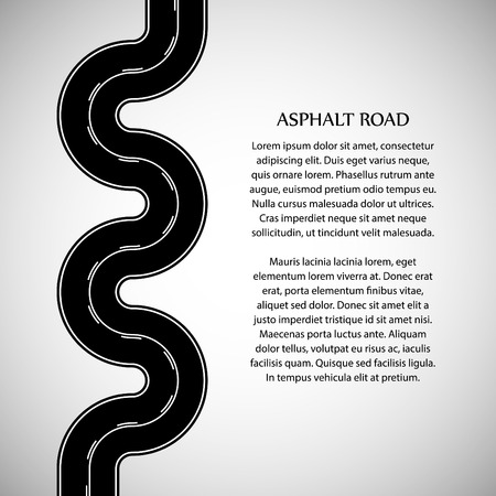 intermittent: Asphalt road black color with white double solid and intermittent marking and text on the gray background