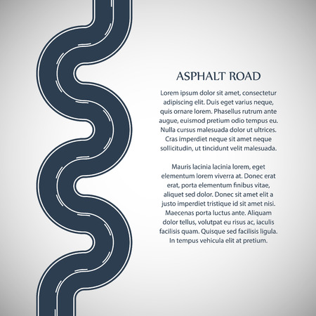 intermittent: Asphalt road gray color with white double solid and intermittent marking and text on the gray background