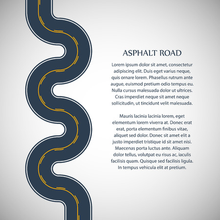 intermittent: Asphalt road gray color with yellow double solid and intermittent marking and text on the gray background