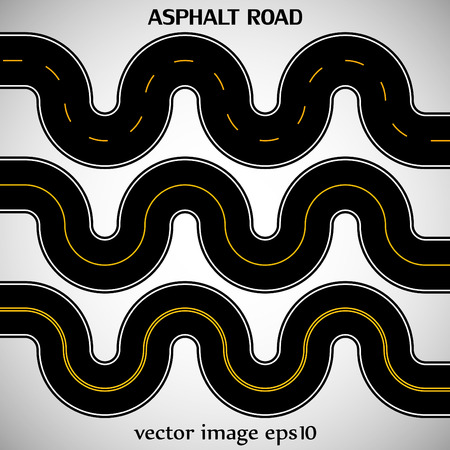 Set asphalt roads black color with yellow marking on the gray background Vector