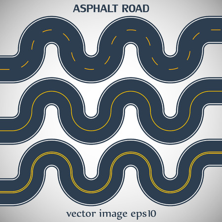 marking: Set asphalt roads gray color with yellow marking on the gray background