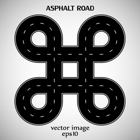 intermittent: Asphalt road black color with white intermittent marking and text on the gray background