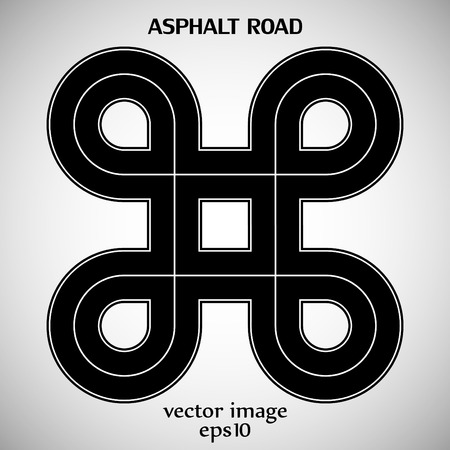 marking: Asphalt road black color with white solid marking and text on the gray background