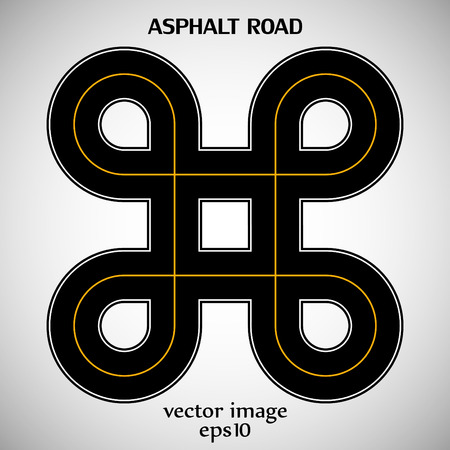marking: Asphalt road black color with yellow solid marking and text on the gray background Illustration