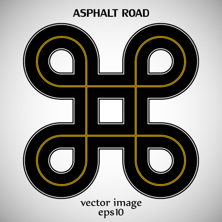 Asphalt road black color with yellow solid double marking and text on the gray background Vector