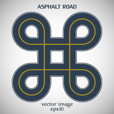 Asphalt road gray color with yellow solid double marking and text on the gray background Vector