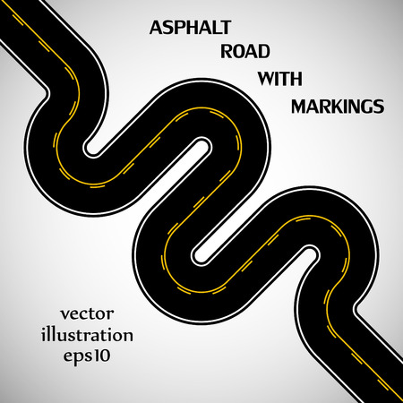 Asphalt road black color with yellow double solid and intermittent marking and text on the gray background Vector