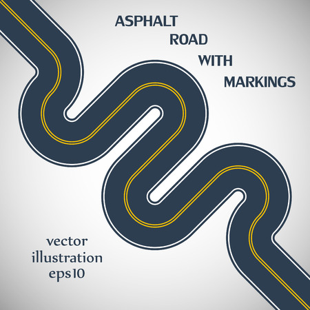 Asphalt road gray color with yellow solid double marking on the gray background Vector