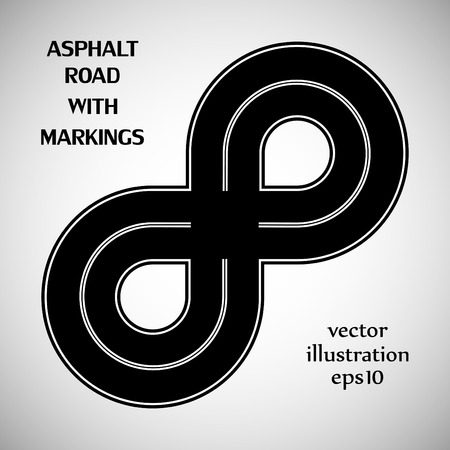 marking: Asphalt road black color with white solid double marking on the gray background Illustration