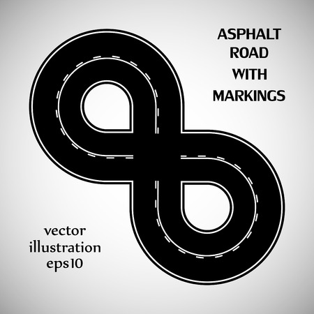intermittent: Asphalt road black color with white double solid and intermittent marking on the gray background Illustration
