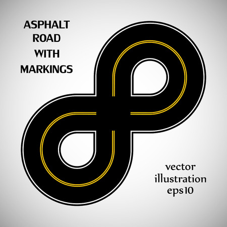 Asphalt road black color with yellow solid double marking on the gray background Vector
