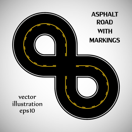 Asphalt road black color with yellow double solid and intermittent marking on the gray background Vector