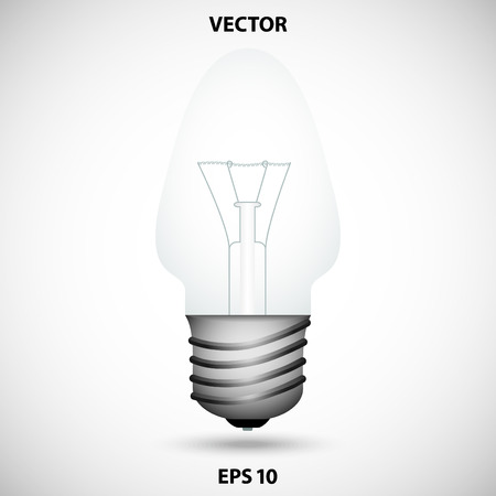 gray bulb: Realistic light bulb on a gray background