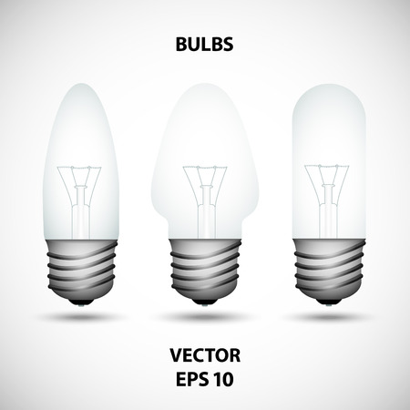 Set of incandescent bulbs on the gray background Illustration