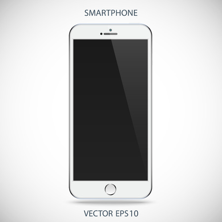 smartphone business: realistic detailed smartphone with touch screen isolated on a gray background Illustration