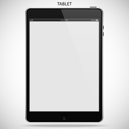 background isolated: realistic detailed tablet with touch screen isolated on a gray background Illustration