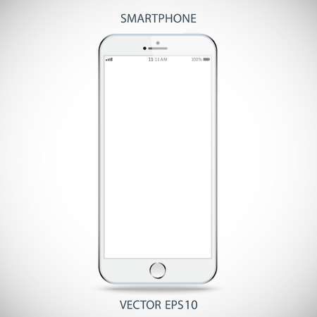 realistic detailed smartphone with touch screen isolated on a gray background Stock Illustratie